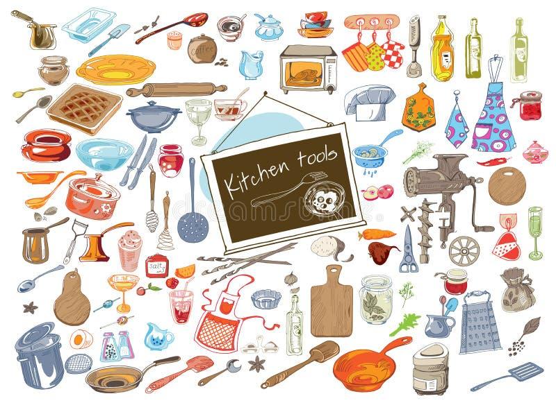 Grupo de elementos colorido da cozinha da garatuja ilustração stock