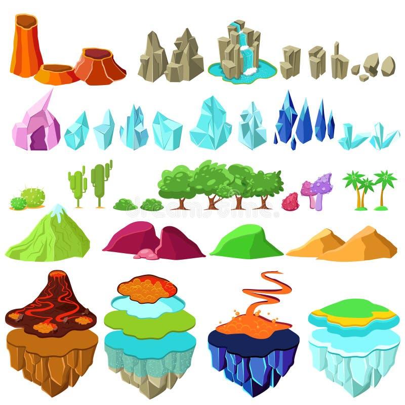 Grupo de elementos colorido da paisagem das ilhas do jogo ilustração do vetor