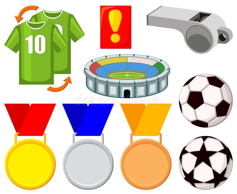 Grupo de elementos colorido do futebol 9 dos desenhos animados ilustração stock