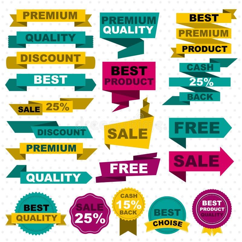 Grupo de elementos colorido liso do projeto da venda ilustração stock