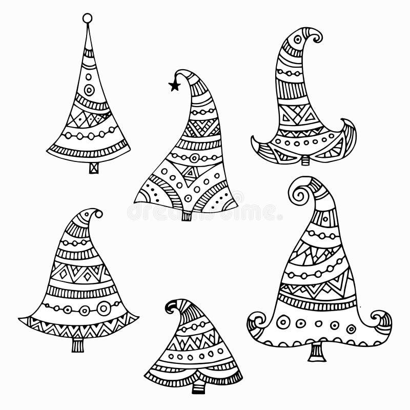 Grupo de elementos da árvore de Natal ilustração do vetor