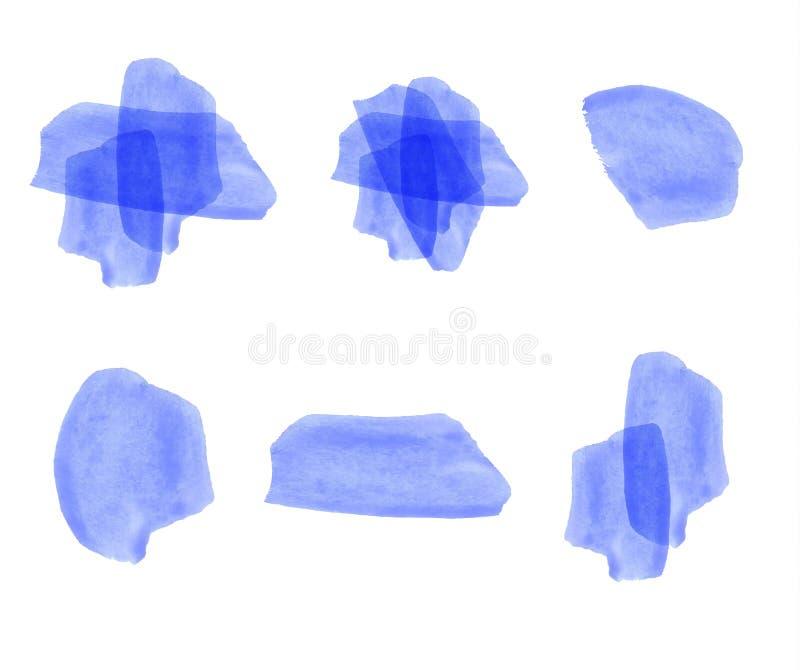 Grupo de elementos da aquarela do VETOR azul ilustração do vetor
