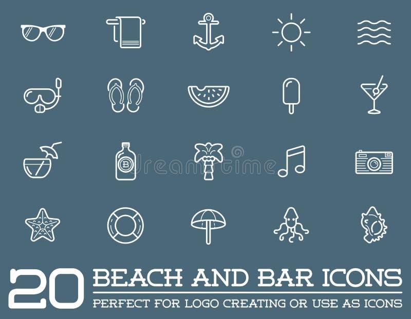 Grupo de elementos da barra do mar da praia do vetor ilustração do vetor