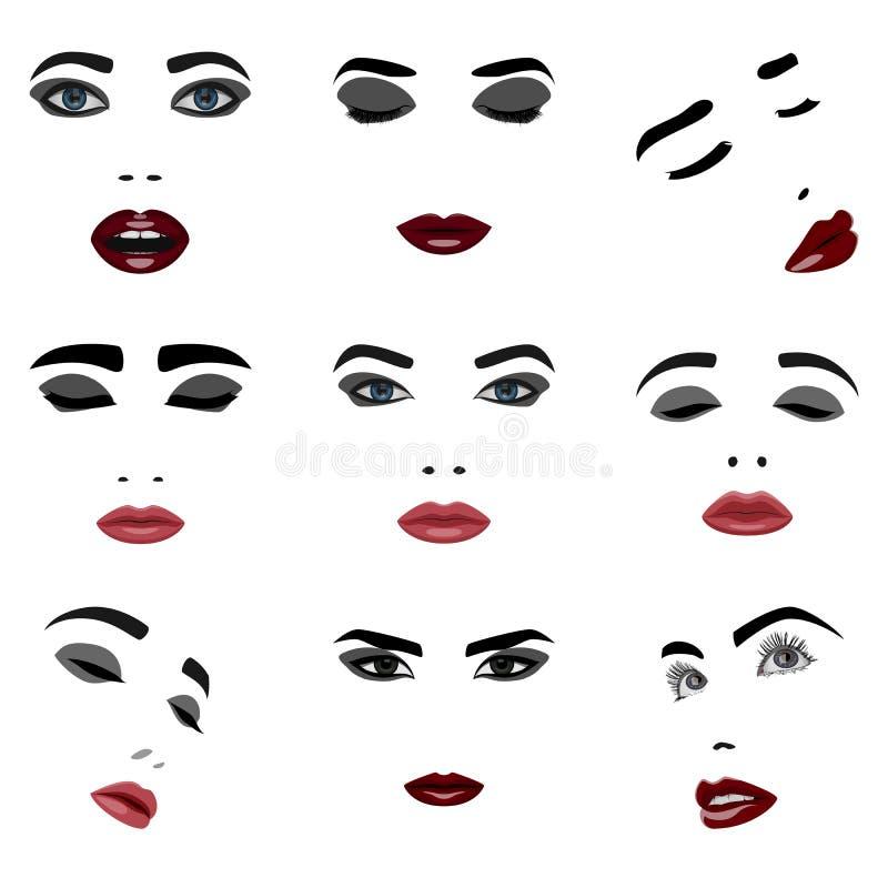Grupo de elementos da cara da mulher da beleza ilustração royalty free