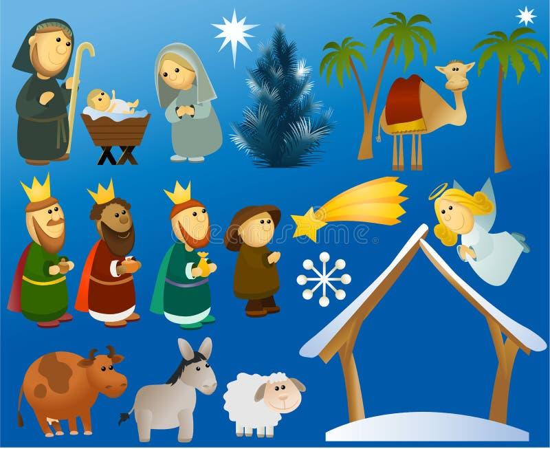 Grupo de elementos da cena do Natal ilustração do vetor