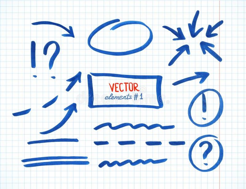 Grupo de elementos da correção e do destaque, parte 1 ilustração do vetor