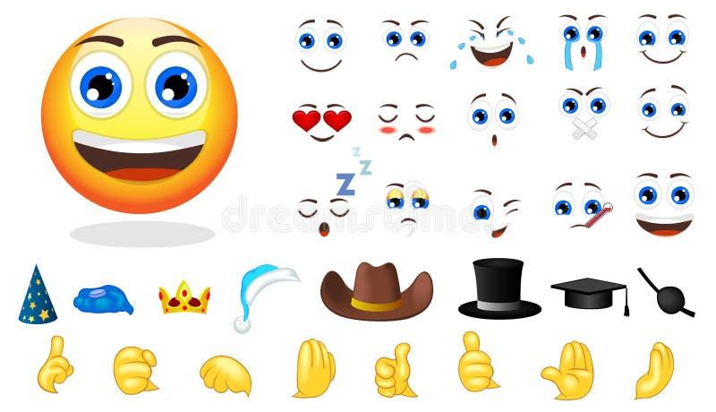 Grupo de elementos da criação da emoção dos desenhos animados ilustração do vetor