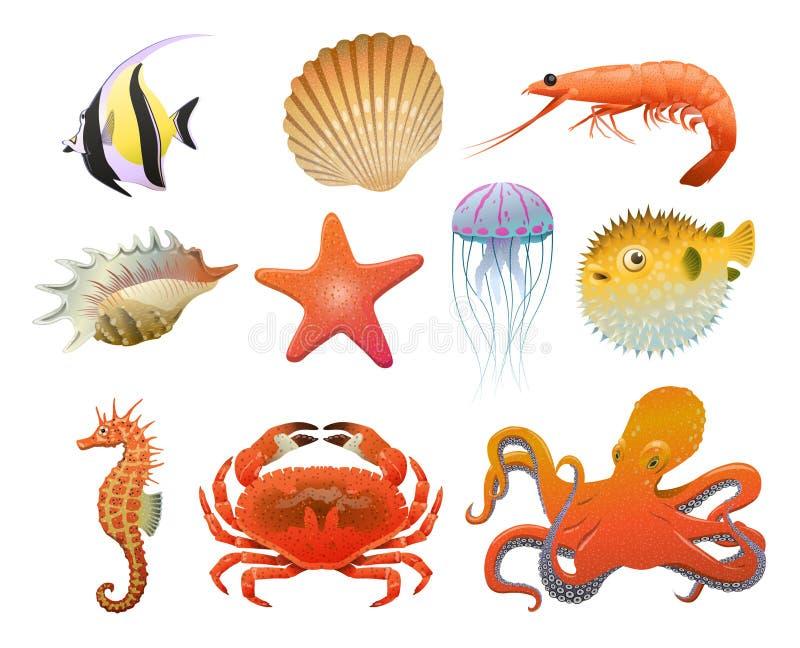 Grupo de elementos da fauna do mar dos desenhos animados ilustração stock