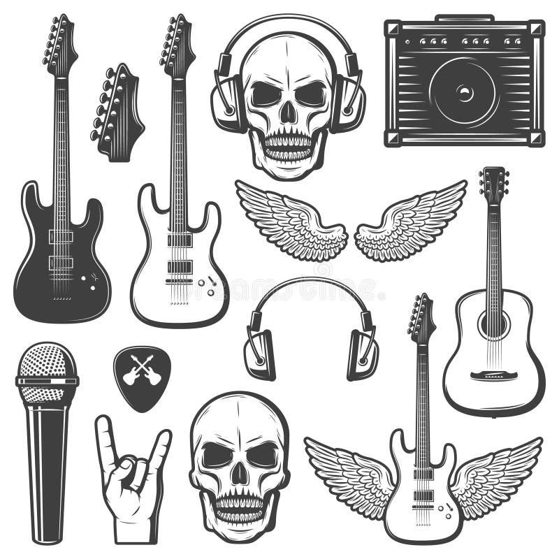 Grupo de elementos da música rock do vintage ilustração stock