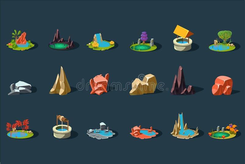 Grupo de elementos da paisagem da fantasia, plantas, pedras, poço, lagoa, lago, detalhes para o vetor da relação do jogo de compu ilustração stock