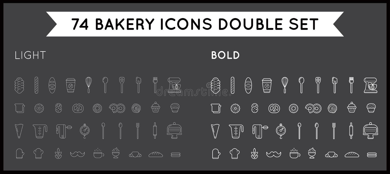 Grupo de elementos da pastelaria da padaria do vetor e de ícones Illustratio do pão ilustração stock
