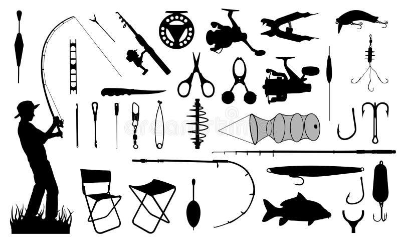 Grupo de elementos da pesca ilustração royalty free