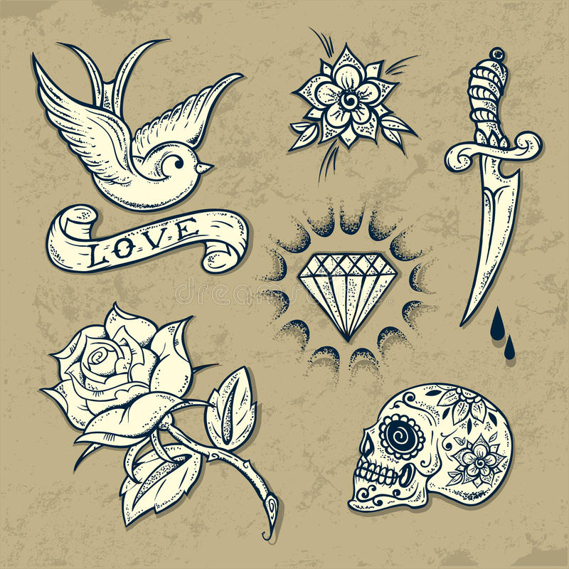 Grupo de elementos da tatuagem da velha escola ilustração royalty free