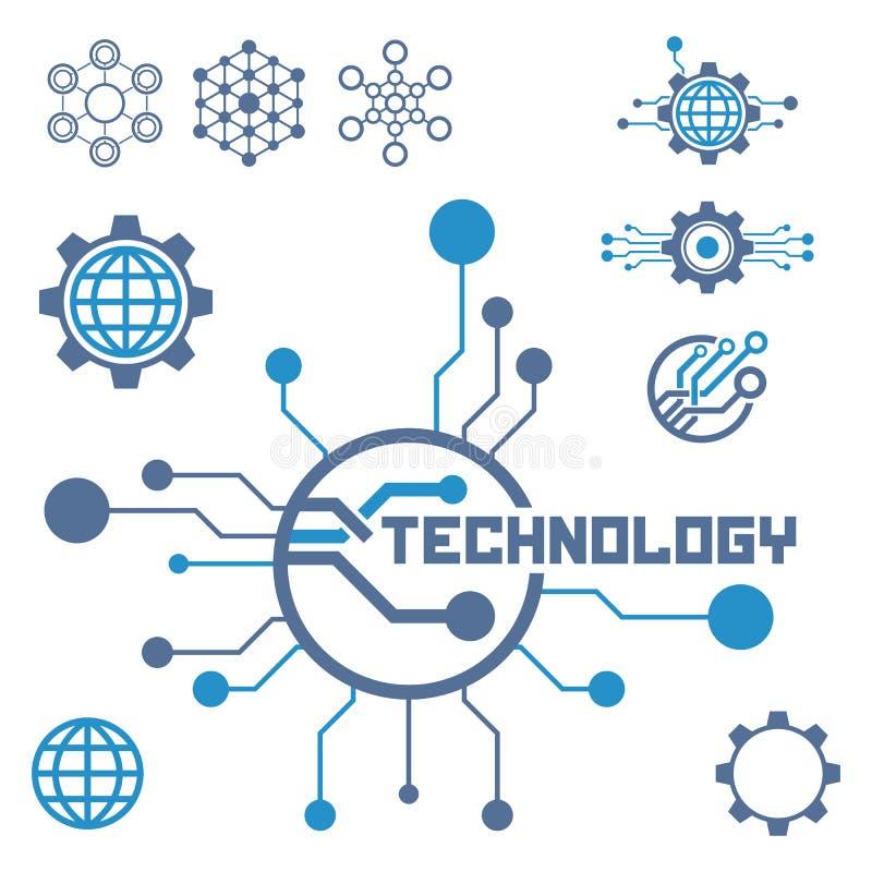Grupo de elementos da tecnologia do circuito Ícone da eletrônica ilustração do vetor