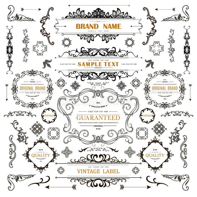 Grupo de elementos das decorações do vintage ilustração royalty free