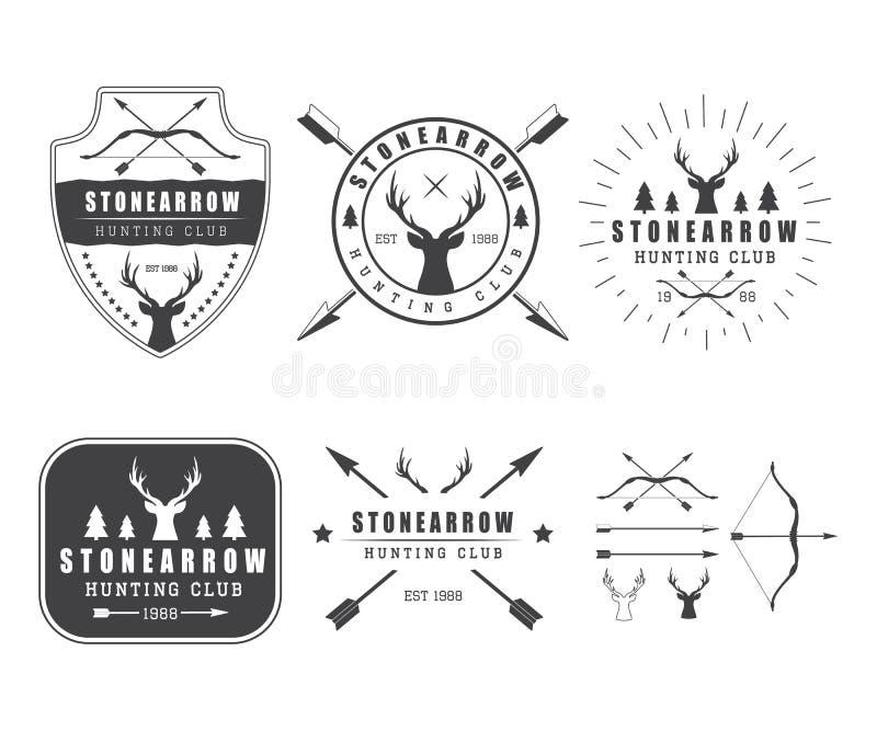 Grupo de elementos das etiquetas, do logotipo, do crachá e do projeto da caça do vintage ilustração royalty free