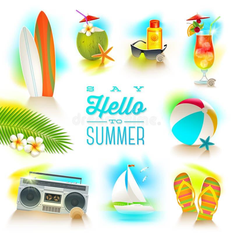 Grupo de elementos das férias de verão ilustração do vetor