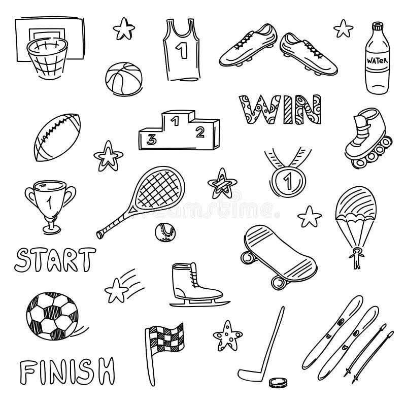 Grupo de elementos das garatujas dos esportes Ícones da tração da mão imagens de stock royalty free