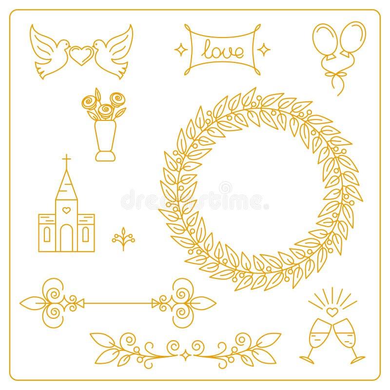 Grupo de elementos, de ícones e de quadro do projeto para convites do casamento ilustração stock