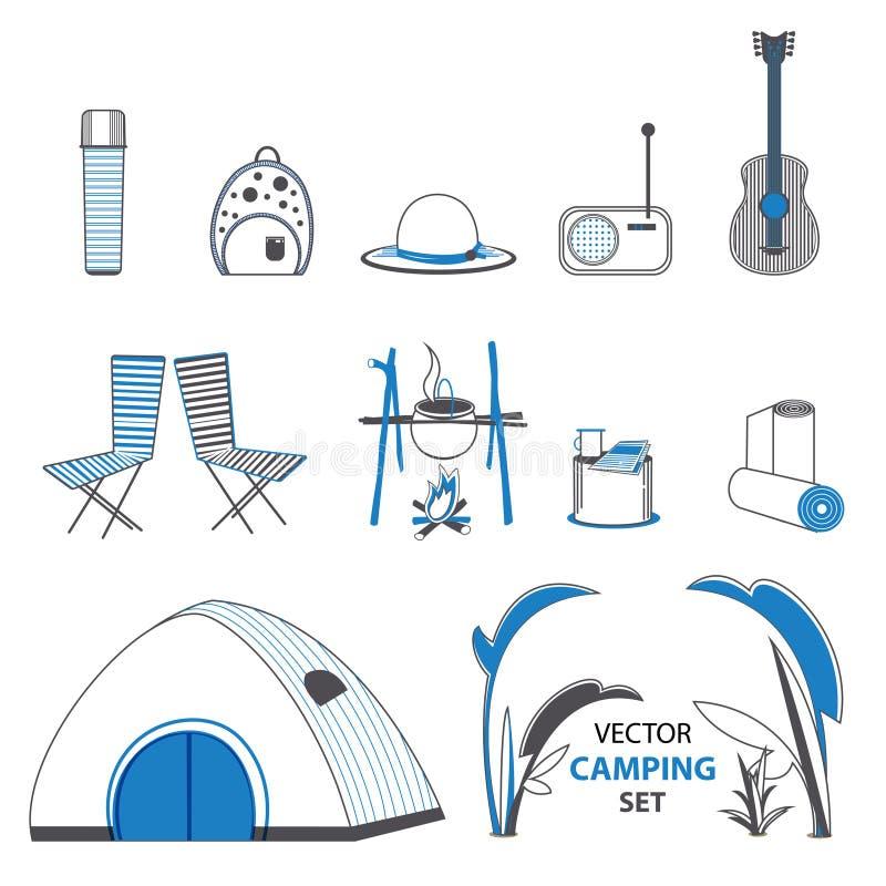 Grupo de elementos de acampamento do esboço ilustração royalty free