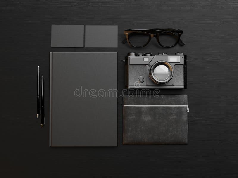 Grupo de elementos de identidade pretos 3d rendem ilustração do vetor