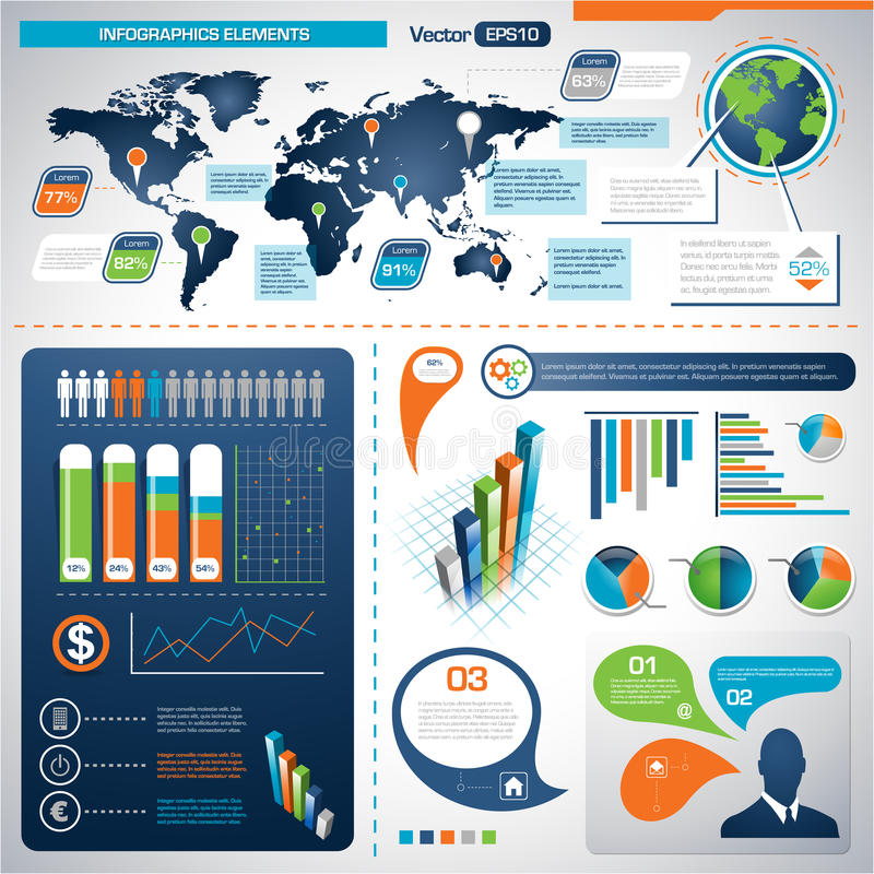Grupo de elementos de Infographic.  Gráficos da informação ilustração stock