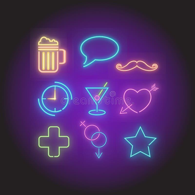 Grupo de elementos de néon dos símbolos ilustração do vetor