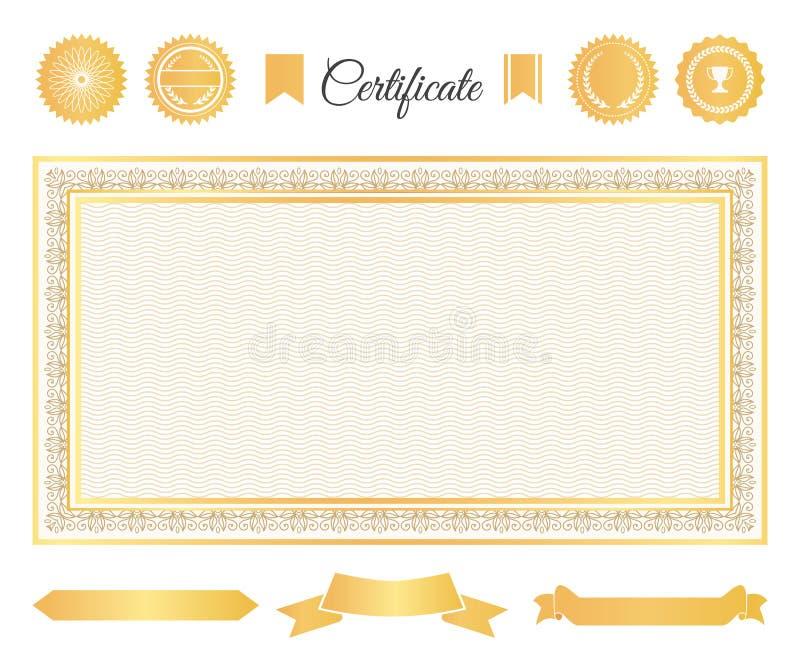 Grupo de elementos decorativo do ouro do certificado oficial ilustração do vetor