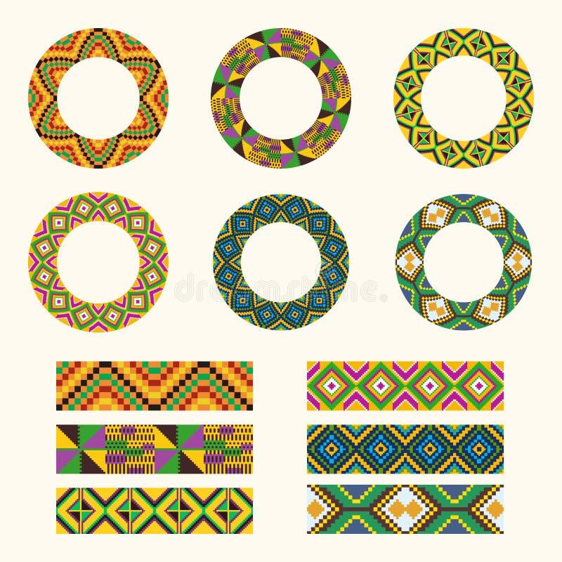 Grupo de elementos decorativos tribais Alinhador longitudinal redondo africano do ornamento ilustração royalty free