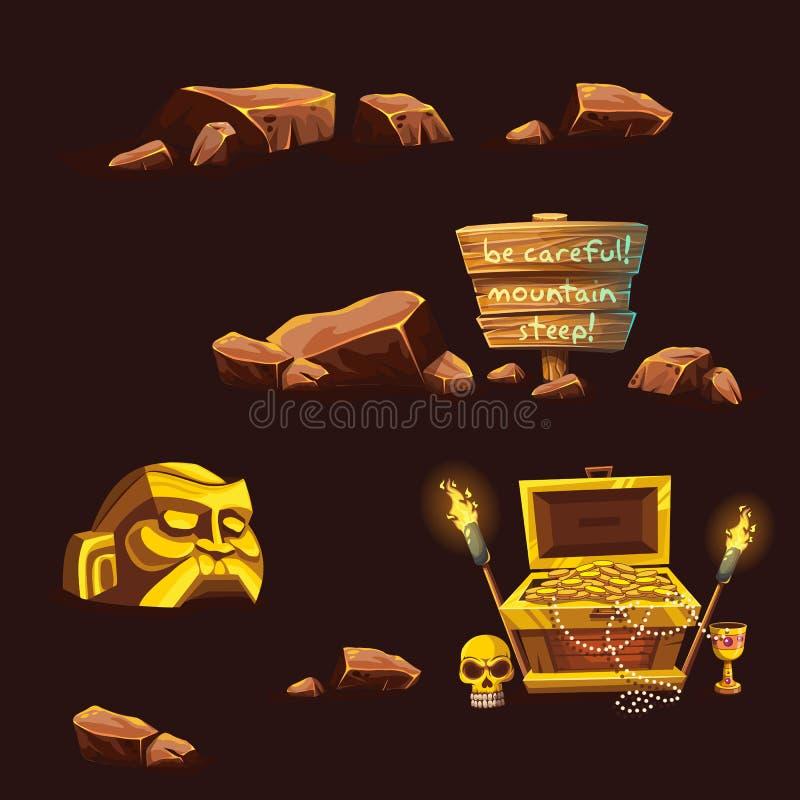 Grupo de elementos diferentes dos desenhos animados do vetor ilustração stock