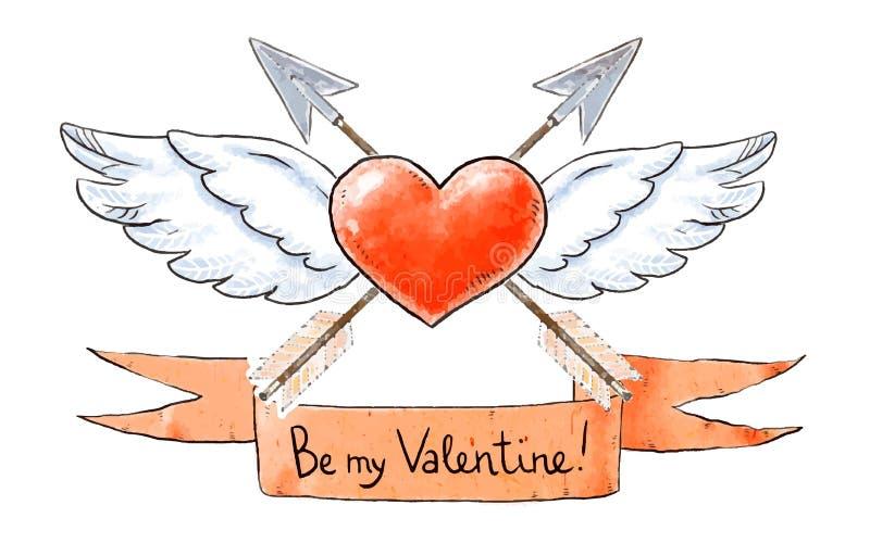 Grupo de elementos do amor para o dia de Valentim O coração voado com setas do vintage e seja minha rotulação do Valentim Ilustra ilustração stock