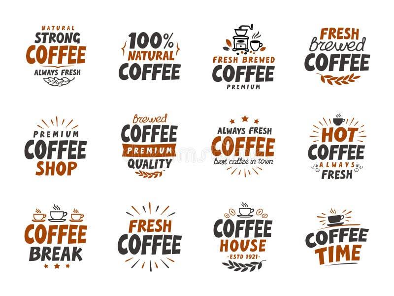 Grupo de elementos do café do vetor símbolos para o restaurante ou o café do projeto do menu ilustração stock