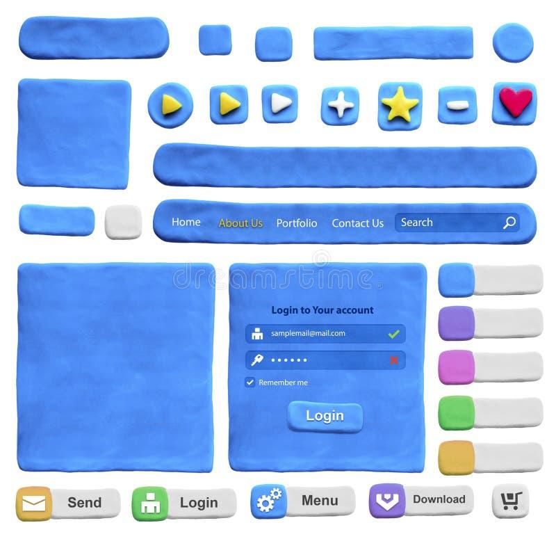 Grupo de elementos do design web do plasticine imagem de stock