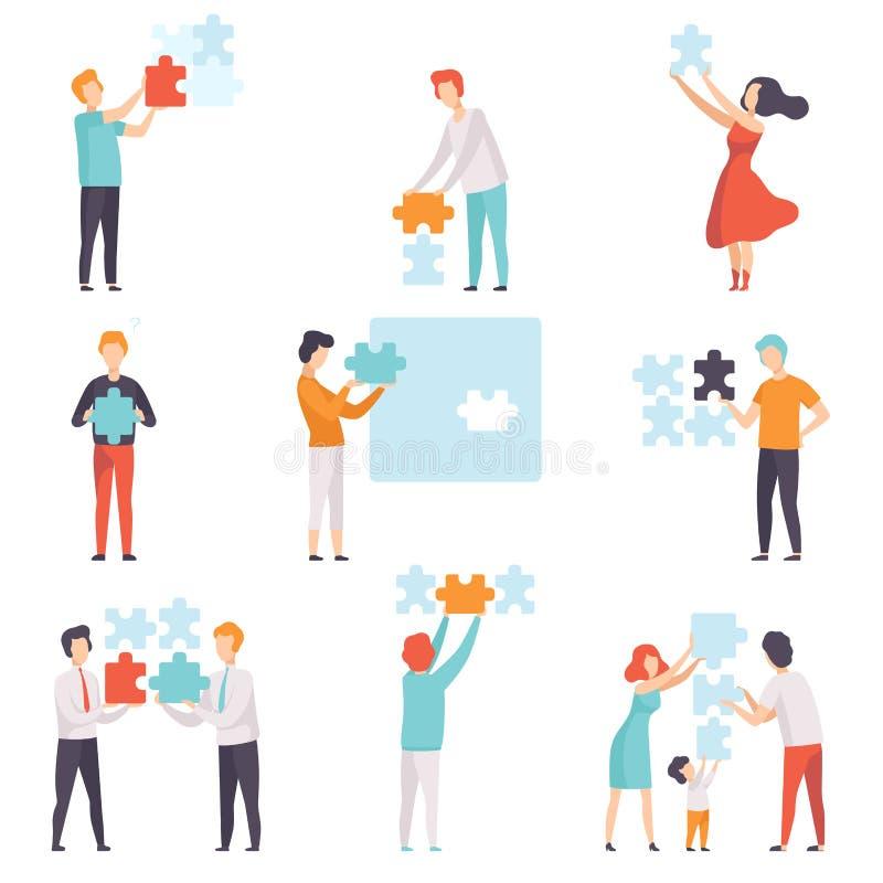 Grupo de elementos do enigma dos povos, homens, mulheres e crianças de conexão pondo a ilustração do vetor dos enigmas de serra d ilustração royalty free