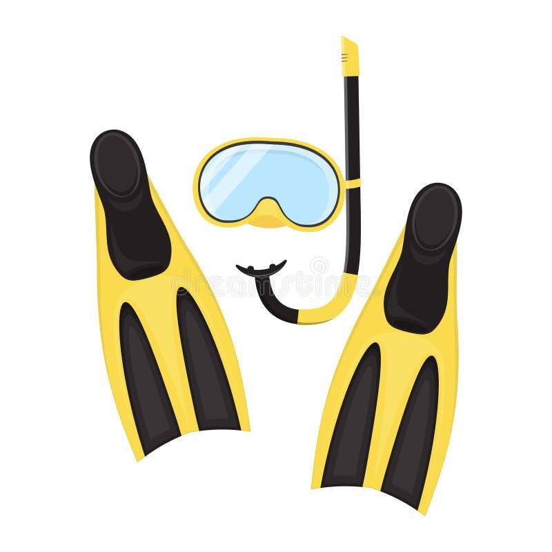 Grupo de elementos do equipamento de mergulho ilustração do vetor