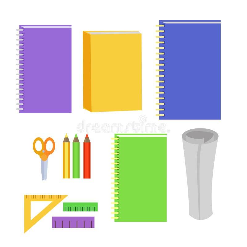 Grupo de elementos do escritório dos artigos de papelaria Ferramentas do local de trabalho ilustração stock