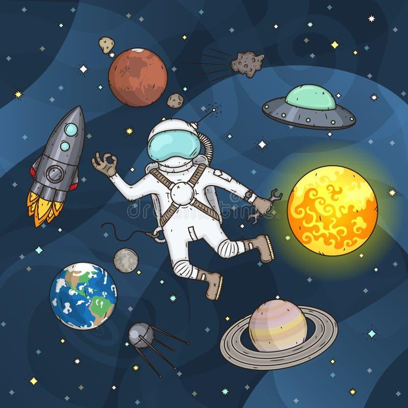 Grupo de elementos do espa?o Astronauta, terra, Saturn, lua, UFO, foguete, cometa, Marte, sol, esputinique e estrelas ilustração do vetor