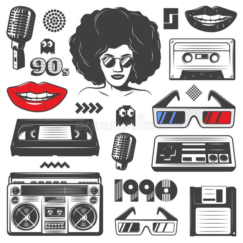 Grupo de elementos do estilo do vintage 90s ilustração do vetor
