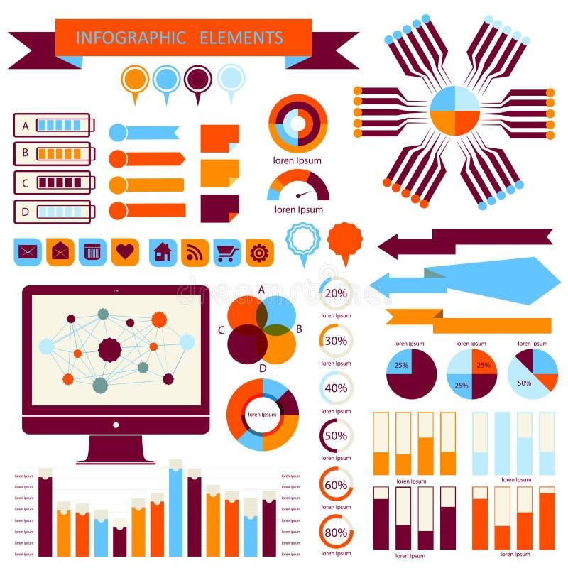 Grupo de elementos 02 do informação-gráfico do vetor ilustração stock