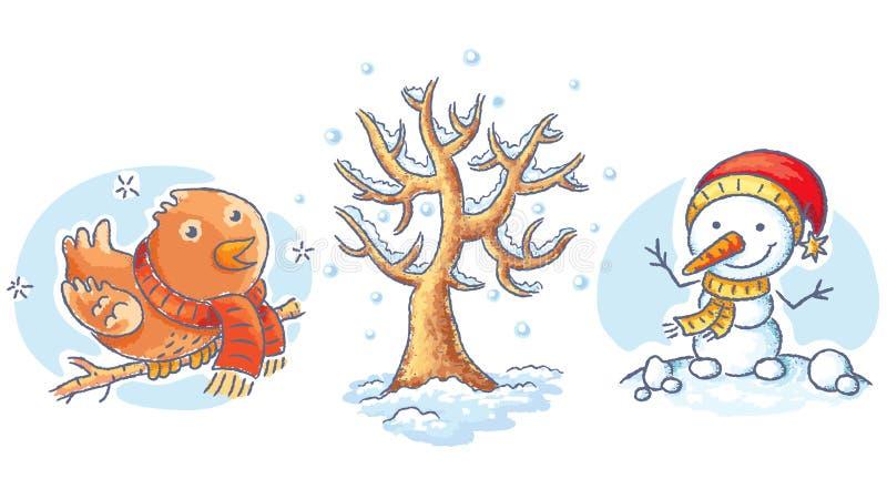 Grupo de elementos do inverno dos desenhos animados - árvore, pássaro e boneco de neve ilustração royalty free