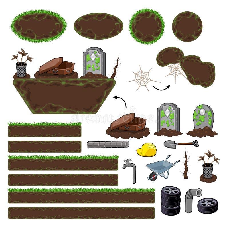 Grupo de elementos do jogo. Plataformas e objetos ilustração stock
