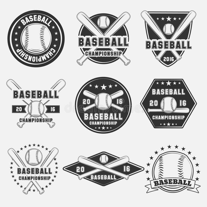 Grupo de elementos do logotipo, do ícone, do emblema, do crachá e do projeto do basebol do vintage ilustração royalty free
