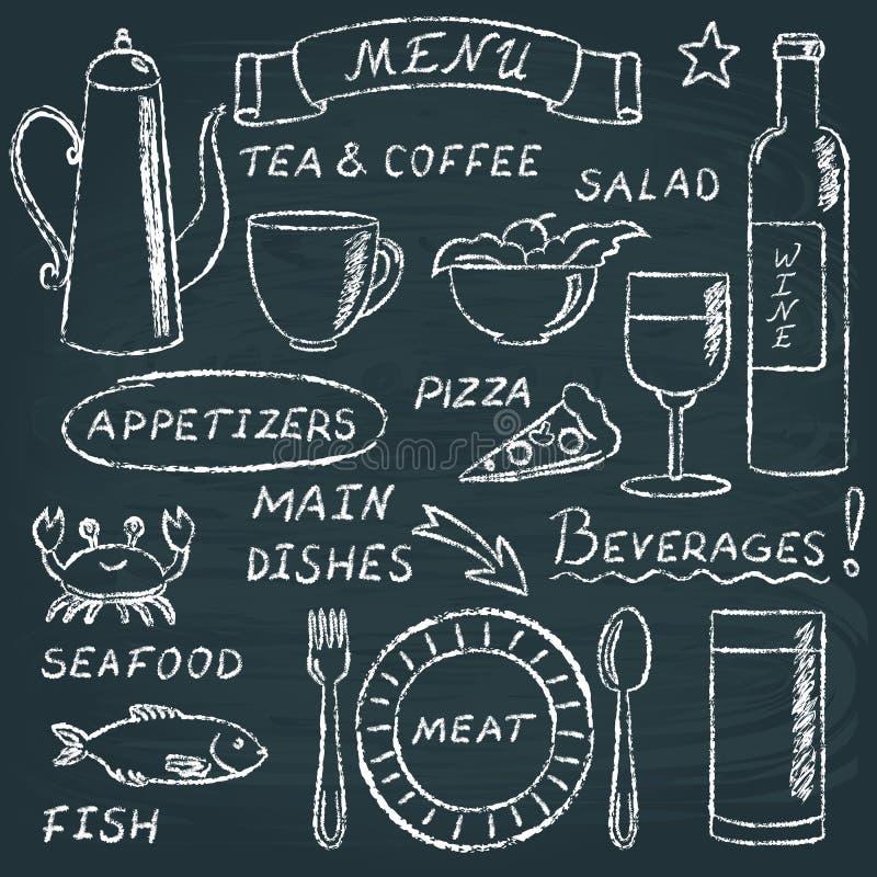 Grupo de elementos 2 do menu do quadro ilustração royalty free