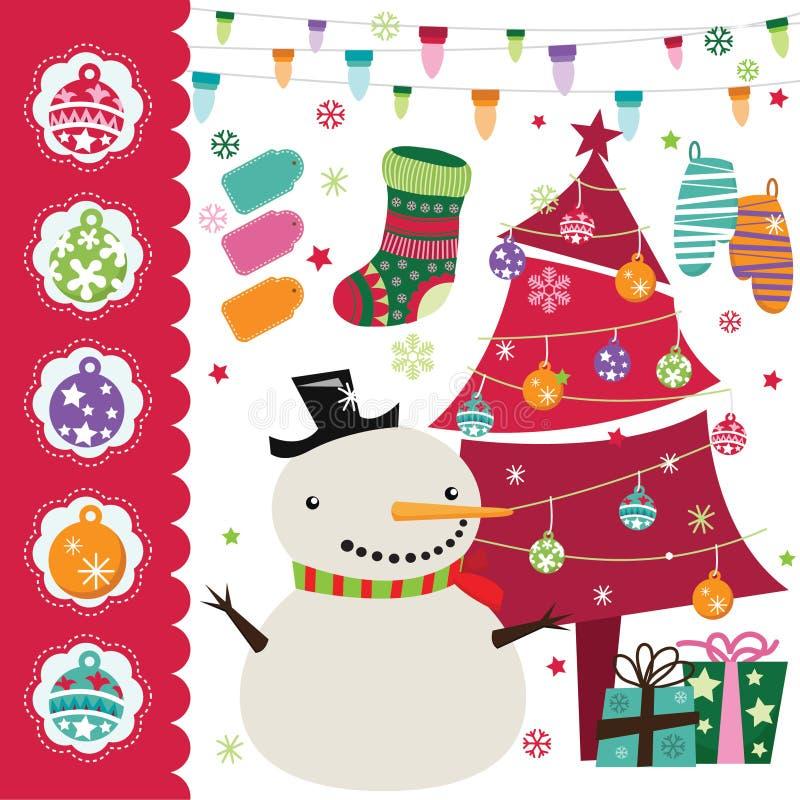 Grupo de elementos do Natal ilustração royalty free