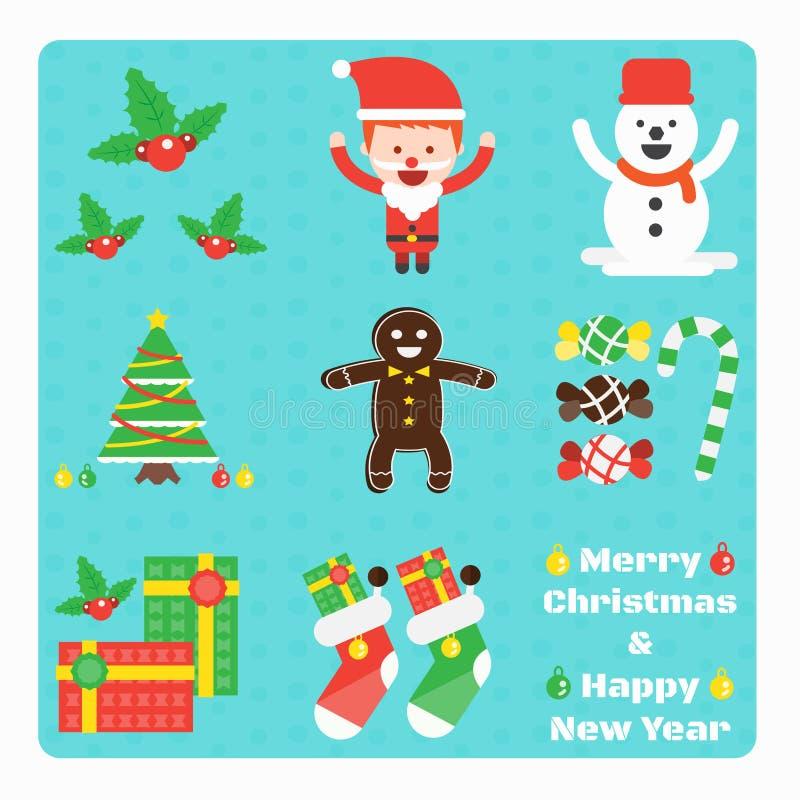 Grupo de elementos do Natal ilustração do vetor