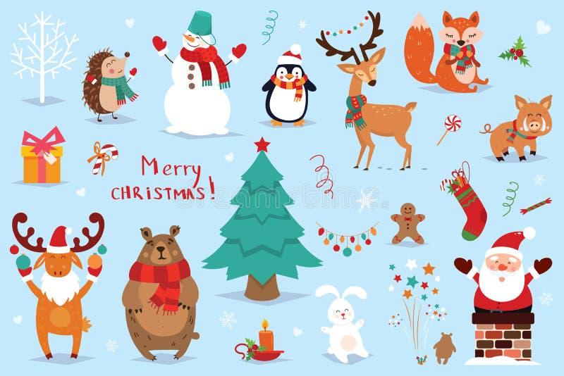 Grupo de elementos do Natal e do ano novo com animais e Santa Ilustração do vetor ilustração stock