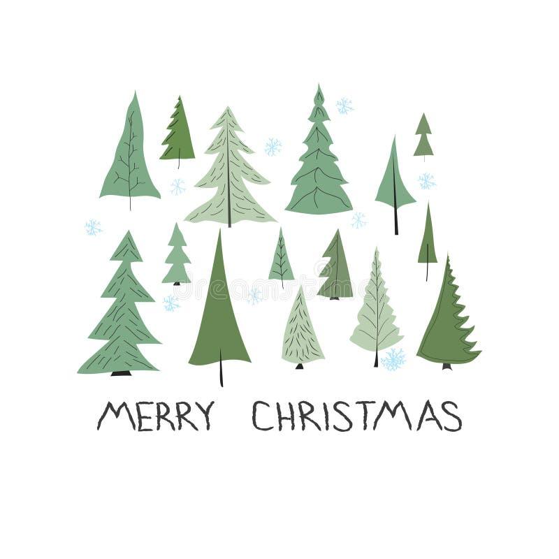 Grupo de elementos do Natal e do ano novo, estilo tirado mão - animais e outros elementos Ilustração do vetor ilustração do vetor