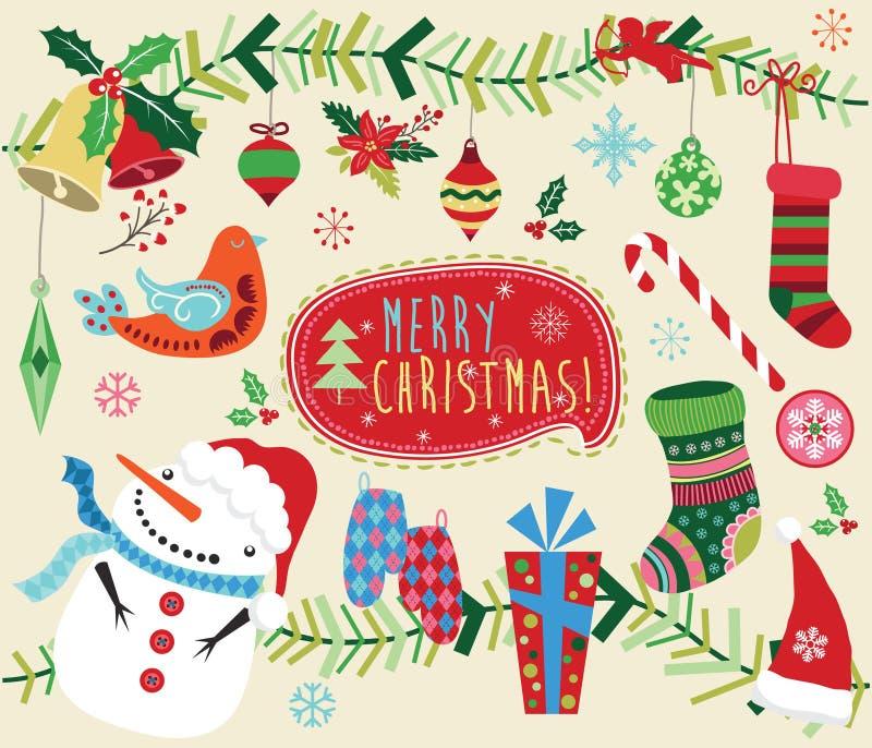 Grupo de elementos do ornamento do projeto do Natal ilustração royalty free