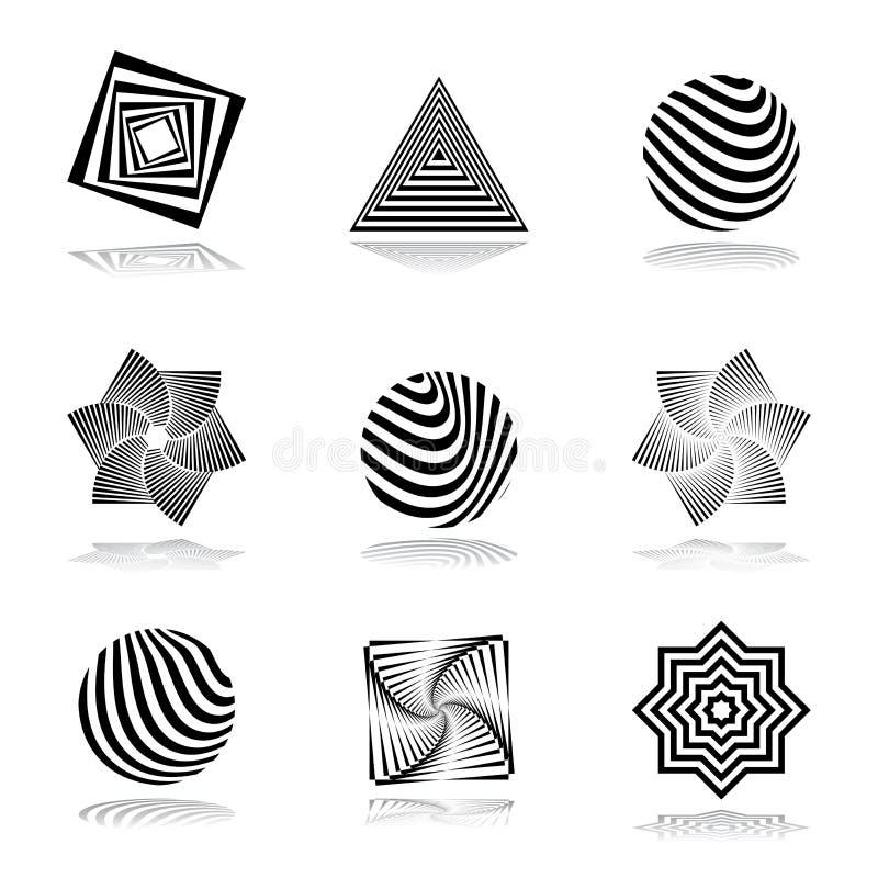 Grupo de elementos do projeto. Ícones gráficos abstratos. ilustração stock