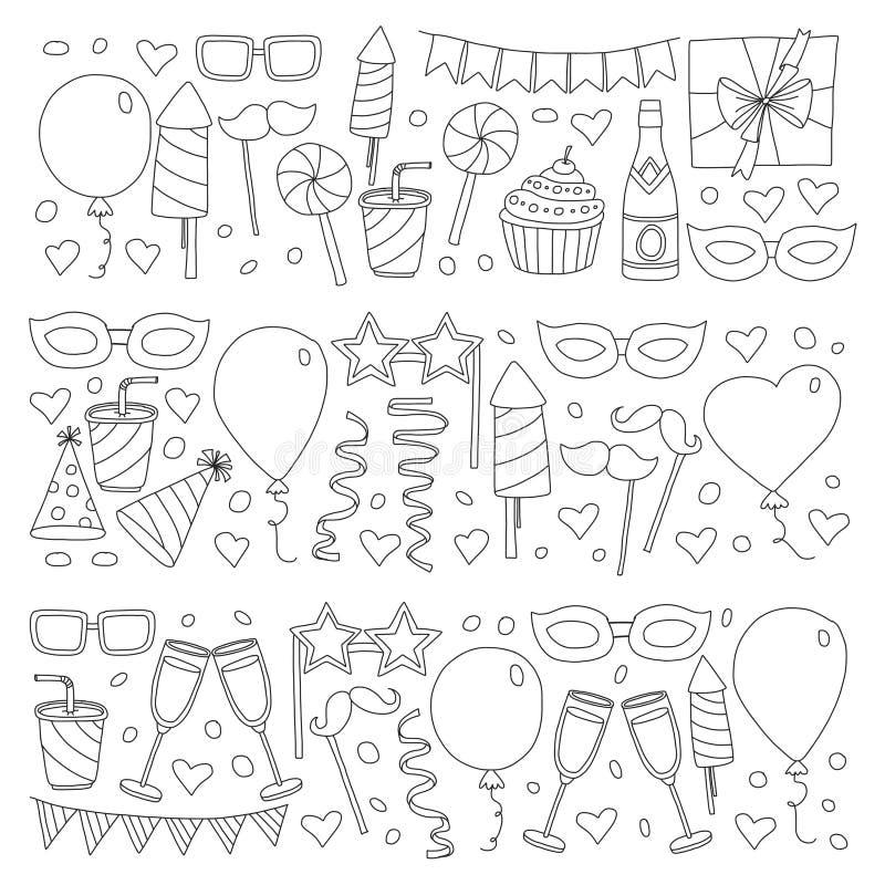 Grupo de elementos do projeto da festa de anos Desenhar dos miúdos Rabiscar balões coloridos dos ícones, bandeiras, confetes, que ilustração royalty free